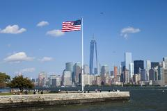 New York City, One World Trade Center and Ellis Island Stock Photos