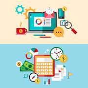 Set of modern flat design business vector infographics banners Stock Illustration