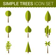 Stock Illustration of Set of different trees, rocks, grass. Sprites for the game. vector flat forests