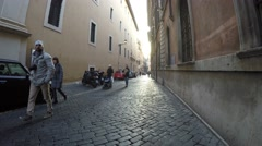 Narrow street in Rome, Italy Stock Footage
