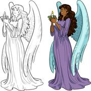 Beautiful African American female angel with candle - stock illustration