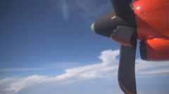 Propeller of airplane rotating Stock Footage
