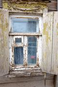 Closeup of the old window in Astrakhan, Russia Stock Photos