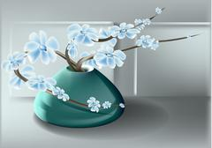 vase and flower - stock illustration