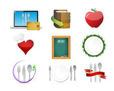 Stock Illustration of food restaurant menu concept icon set illustration