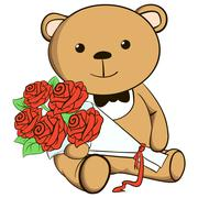 Cute teddy bear groom - stock illustration