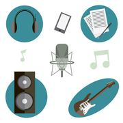 Professional tools of musician - stock illustration