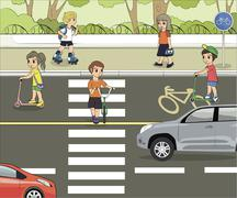Set of objects to illustrate traffic rules with children. Stock Illustration