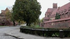 View of the internal and external walls of the medieval castle Stock Footage