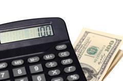 Calculator and money Stock Photos