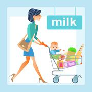 Mum with the shopping cart with a baby in the store - stock illustration
