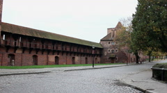 View of the external and internal walls of the medieval castle Stock Footage
