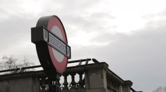 London Underground Sign Side Angle Stock Footage