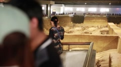 Crowds of people at the Terracotta Warriors dig Stock Footage