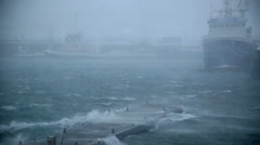 Stock Video Footage of ship docked in hurricane force storm, rain and wind, snow, Reykjavik, Iceland