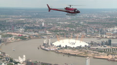 Helicopter with London's O2 Arena Aerial Footage Stock Footage