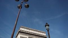 Arc de Triomphe, Paris monument  - tilt down Stock Footage