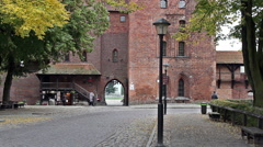 Static shot of an outer gate of the medieval castle Stock Footage