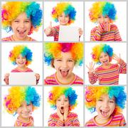 Collage girl in a colorful clown wig Stock Photos