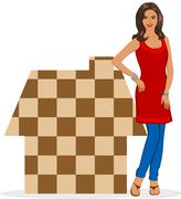 indian house wife - stock photo