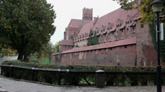 Left and right pan of the internal and external walls of the medieval castle Stock Footage