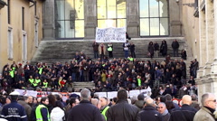 Local Municipal Police protest rally against the Municipal Committee. Rome Stock Footage