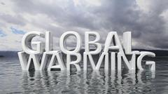 Sinking Global Warming 3D text with nature background Stock Illustration