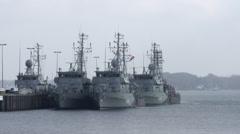 Naval Vessel in Kiel Germany 1 Stock Footage