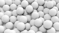 Many golf balls together closeup isolated on white - stock illustration