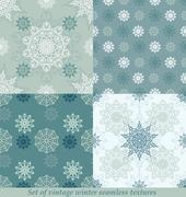 Stock Illustration of Vintage seamless winter patterns with snowflakes