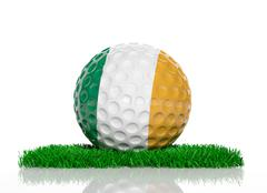 Golf ball with flag of Ireland on green grass - stock illustration