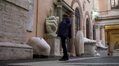 Tourist girl in the courtyard of Capitoline Museum. Rome, Italy. Stock Footage