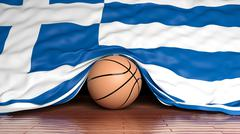 Basketball ball with flag of Greece on parquet floor - stock illustration