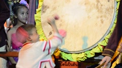 Thai Children people show the drum to turn away victory or Drum KlongSabatChai Stock Footage