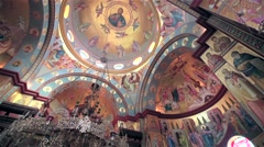 Orthodox Cathedral church. Icons iconostasis, dome in shot Stock Footage
