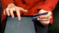 4k Woman buying online with Tablet Pc Ipad with credit card Online shopping Stock Footage