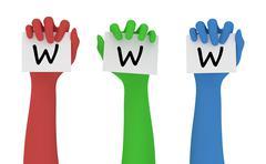 Holding The World Wide Web - stock illustration