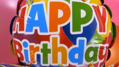 4k Happy Birthday message colorful balloons, celebration background, anniversary - stock footage