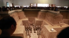 Crowds of tourists at the Terracotta Warriors museum Stock Footage