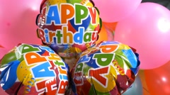 4k Happy Birthday message colorful balloons, celebration background, anniversary Stock Footage