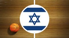 Basketball court parquet floor center with flag of Israel - stock illustration
