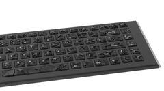 Black broken keyboard with cracks isolated on white background Stock Illustration