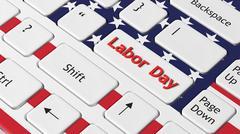 Laptop keyboard with American flag and Labor day key - stock illustration