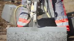 Cuting a concrete block Stock Footage