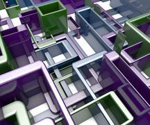 Abstract Background Of 3D Blocks, Cubes, Box, Floor 3D Render - stock illustration