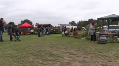 People buy plants and natural food sold in botanical festival Stock Footage