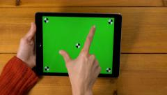 4k best multi touch touchscreen gestures UHD green screen chroma key Ipad tablet Stock Footage