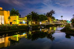 Houses and bridge along the Venice Canals at night, in Venice Beach, Los Ange Kuvituskuvat