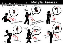Multiple diseases Stock Illustration