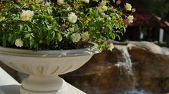 Artificial waterfall in the garden slow motion Stock Footage